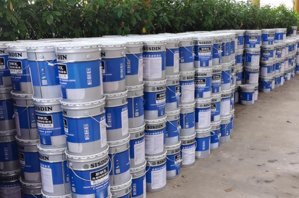 运抵现场的CW308 (厚浆)耐久型彩钢瓦翻新专用防锈底漆